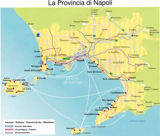 Carte baie de Naples